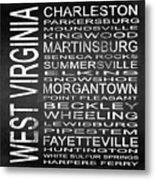 Subway West Virginia State Square Metal Print