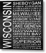 Subway Wisconsin State 2 Square Metal Print