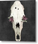 Succulent Flowers And Horse Skull Metal Print