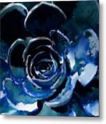 Succulent In Blue Metal Print