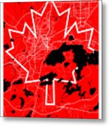 Sudbury Street Map - Sudbury Canada Road Map Art On Canada Flag Symbols Metal Print