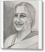 Sudha Murthy A Philanthropist  Metal Print