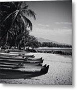 Sugar Beach Hawaiian Outrigger Canoes Kihei Maui Hawaii  Metal Print