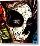 Sugar Skull In Blue  Metal Print