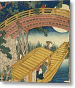 Suihiro Bridge In Moonlight Metal Print