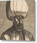Suleyman The Magnificent , Engraved By Melchior Lorck Metal Print