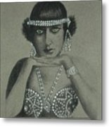 Sultry Silent Star -- Portrait Of Silent Film Star Metal Print