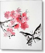 Sumi -e Butterfly Metal Print