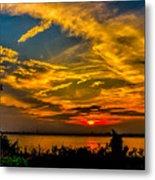 Summer Sunset Over The Delaware River Metal Print