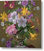 Summer Arrangement In A Glass Vase Metal Print