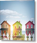Summer Beach Huts By The Seashore Metal Print