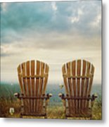 Summer Chairs Sand Dunes And Ocean In Background Metal Print