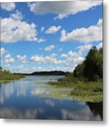 Summer Cloud Reflections On Little Indian Pond In Saint Albans Maine Metal Print
