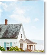 Summer Cottage And Flowers By The Ocean Metal Print