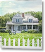Summer Cottage And White Picket Fence With Flowers Metal Print
