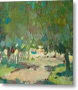 Summer Day In City Park. Trees Metal Print