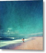 Summer Days - Abstract Seascape With Surfer Metal Print