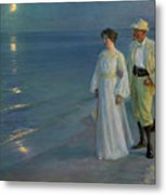 Summer Evening On The Beach At Skagen The Artist And His Wife Metal Print
