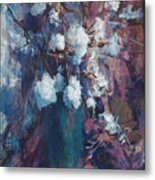 Vase Of Cotton Metal Print