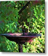 Summer Fountain Impasto Metal Print
