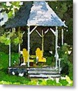 Summer Gazebo With Yellow Chairs Metal Print