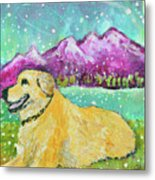 Summer In The Mountains With Summer Snow Metal Print