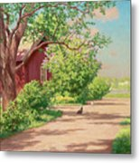 Summer Landscape With Hens Metal Print