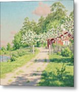 Summer Landscape With House Metal Print
