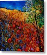 Summer Landscape With Poppies  Metal Print