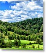 Summer Morning Meadow And Ridge Metal Print