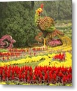 Summer Palace Flower Phoenix Metal Print