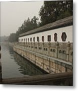 Summer Palace Pond With Ornate Balustrades Metal Print