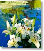 Summer Pond French Lilies Metal Print