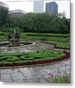Summer Rain In The Conservatory Garden Metal Print