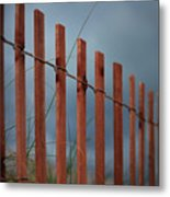 Summer Storm Beach Fence Metal Print