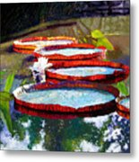 Summer Sunlight On Lily Pads Metal Print