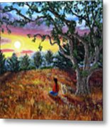 Summer Sunset Meditation Metal Print