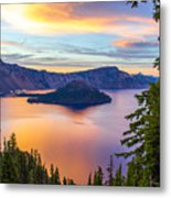 Sunset At Crater Lake, Oregon Metal Print