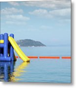 Summer Vacation Scene With Water Slide  Metal Print