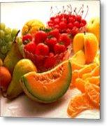 Summertime Fruit On White Metal Print