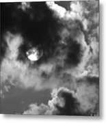 Sun And Clouds - Grayscale Metal Print