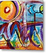 Sun And Waves Metal Print