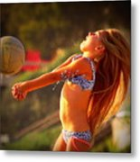 Sun Beach Girl Metal Print
