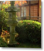 Sun Beams Over Japanese Stone Lantern Metal Print
