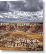Sun Breaks And Passing Clouds Over Arizona's Remote Ha Ho No Geh Canyon. Metal Print