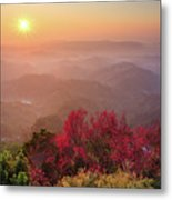 Sun Burst, Cherry Blossoms And Mountain Layers Metal Print