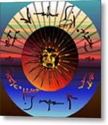 Sun Face Stylized Metal Print