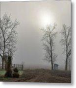 Sun Filtered Through Fog Metal Print
