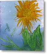 Sun Flower And Dragonflies  At Dusk Metal Print