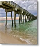 Sun Going Down At The Pier Metal Print